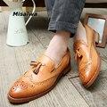 2017 Oxford Hombres de Cuero Zapatos de Punta estrecha Patrón Sólido Slip-on Pisos Borla Primavera Autume Verano Hombres Pisos Chaussure Homme
