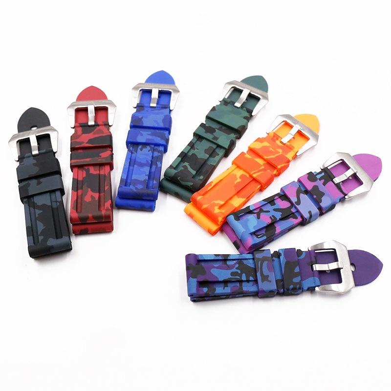 Pin Buckle 24mm Men's Rubber Strap For Panerai PAM111PAM508PAM441 111 380 0389 Outdoor Sports Waterproof Watch Strap Watch Band