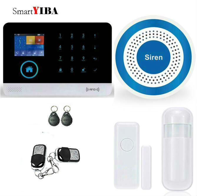 SmartYIBA WIFI GSM Security Alarm APP Control Smart Wireless Alarmes RFID Wireless GPRS Alarm Motion Alarm