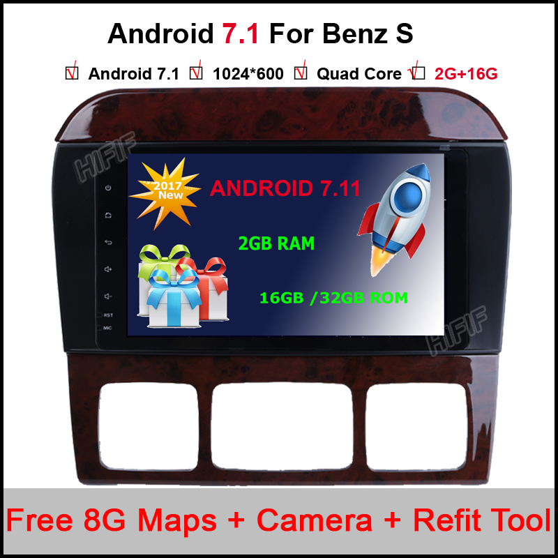 Quad Core Android 7.12 HD 1024x600 Car Radio GPS For Mercedes Benz S Class W220 S280 S420 S430 S320 S350 S400 S500 S600