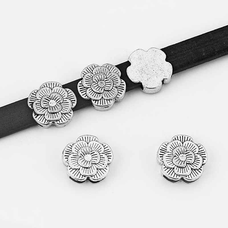 64b38a415e1e 8 unids plata antigua 10 2mm flor espaciador perlas para 5mm-10mm cuero  plano cable