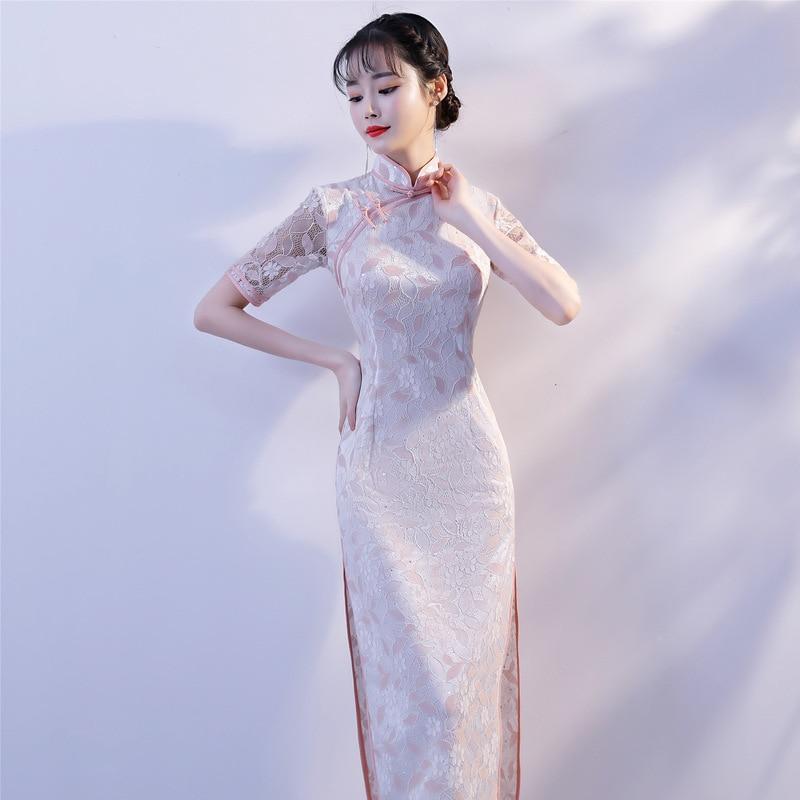 83203 Del Manica Sexy Breve Femminile Merletto Estate Qipao Guaina Donne Cheongsam Collare Abiti Elegante Nuovo Mandarino Tradizionale Cinese BCR1fq