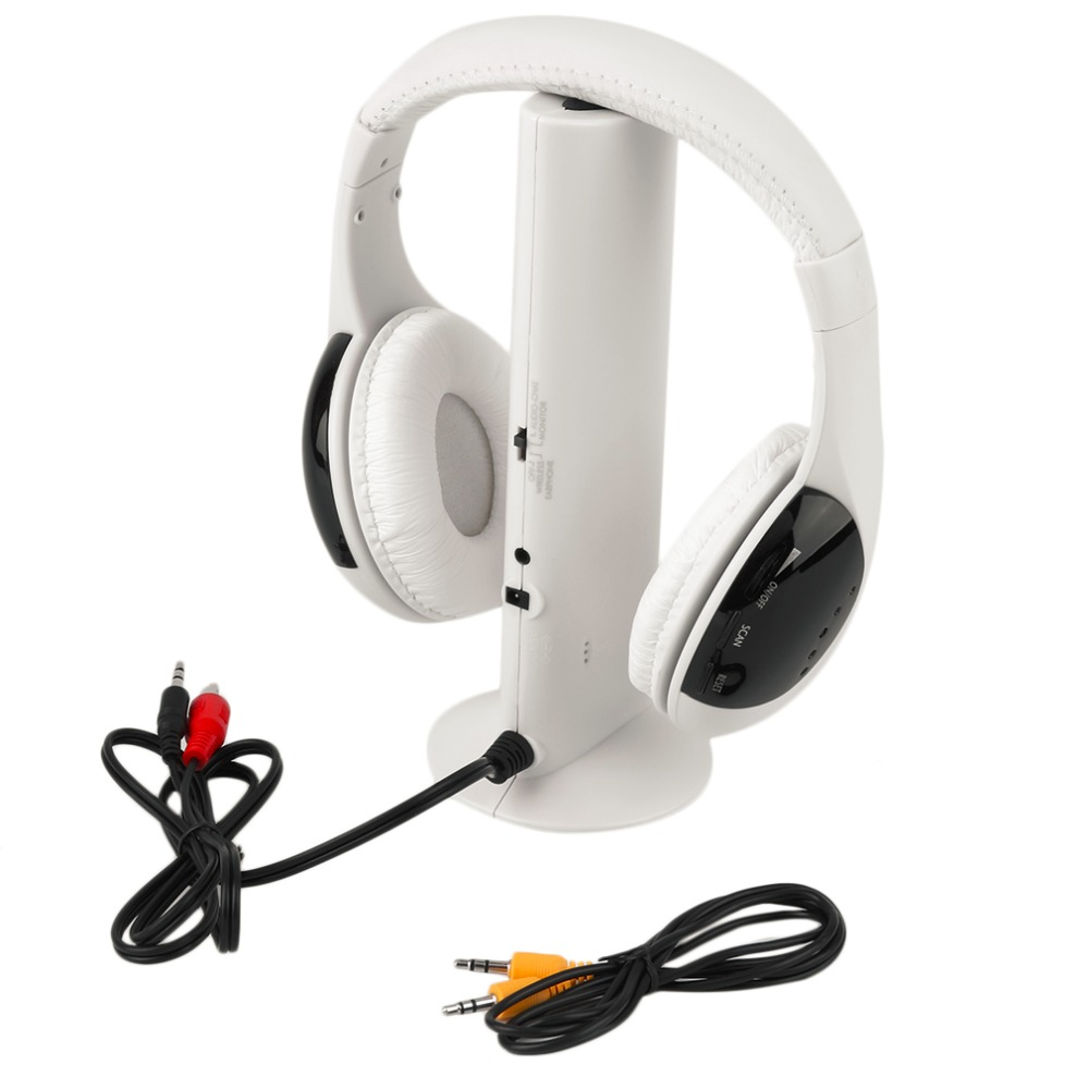 Multifunction 5 in 1 Wireless Headphones for a mobile phone HiFi Headset Wireless Monitor Radio MP3 PC TV Audio Phones 5 in 1 wireless stereo headset headphone transmitter fm radio for tv dvd mp3 pc l060 new hot