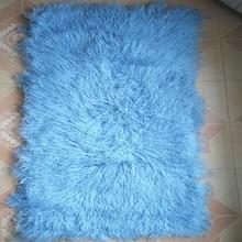 Light Blue mongolian fur Blanket Floor fur Carpet Rugs Bedrooms Real Rug Decorative Throw Blankets Home Rugs Christmas Gift New