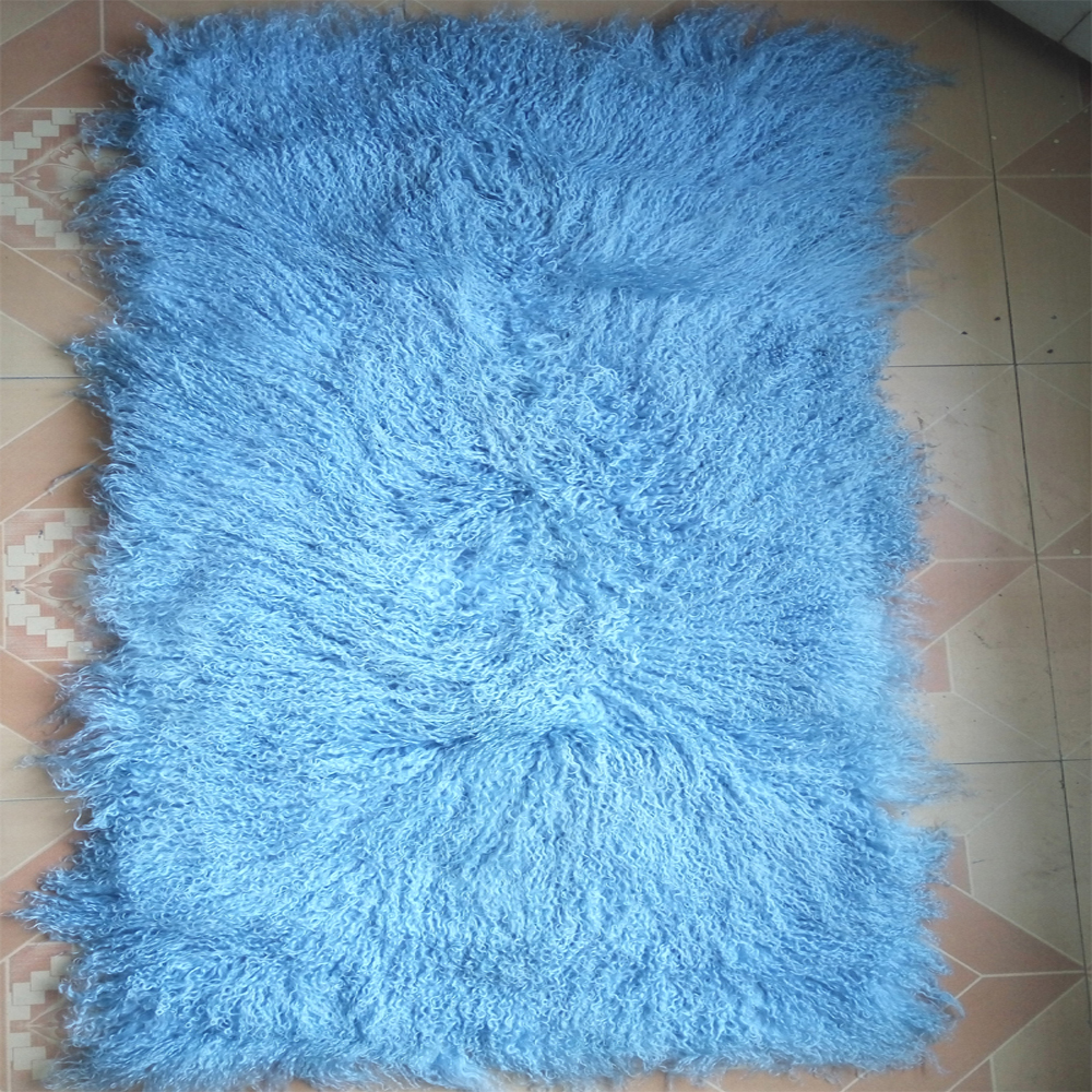 Light Blue Mongolian Fur Rug Real Fur Blanket Floor Fur