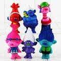 6Pcs/Set Trolls Poppy DJ Suki Guy Diamond Cooper Branch Critter Skitter Boards 7.3-8.3cm PVC Kids Christmas Gift