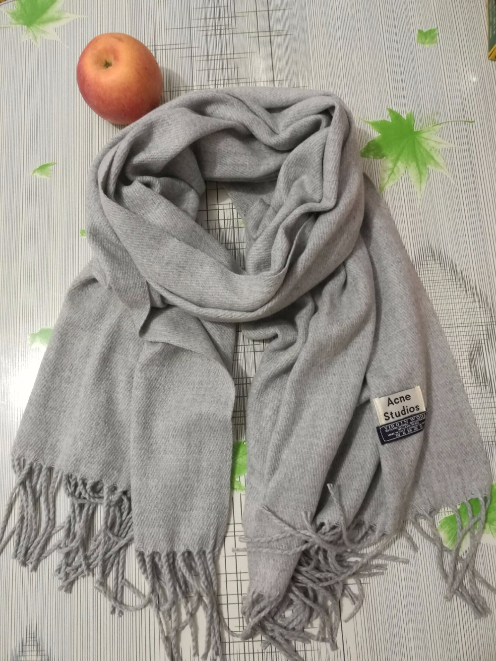 High Quality Acne Studio Scarves Virgin Wool Winter Scarf For Woman Long Tassel Solid Ponchos Luxury Brand Warm neckerchief Wrap