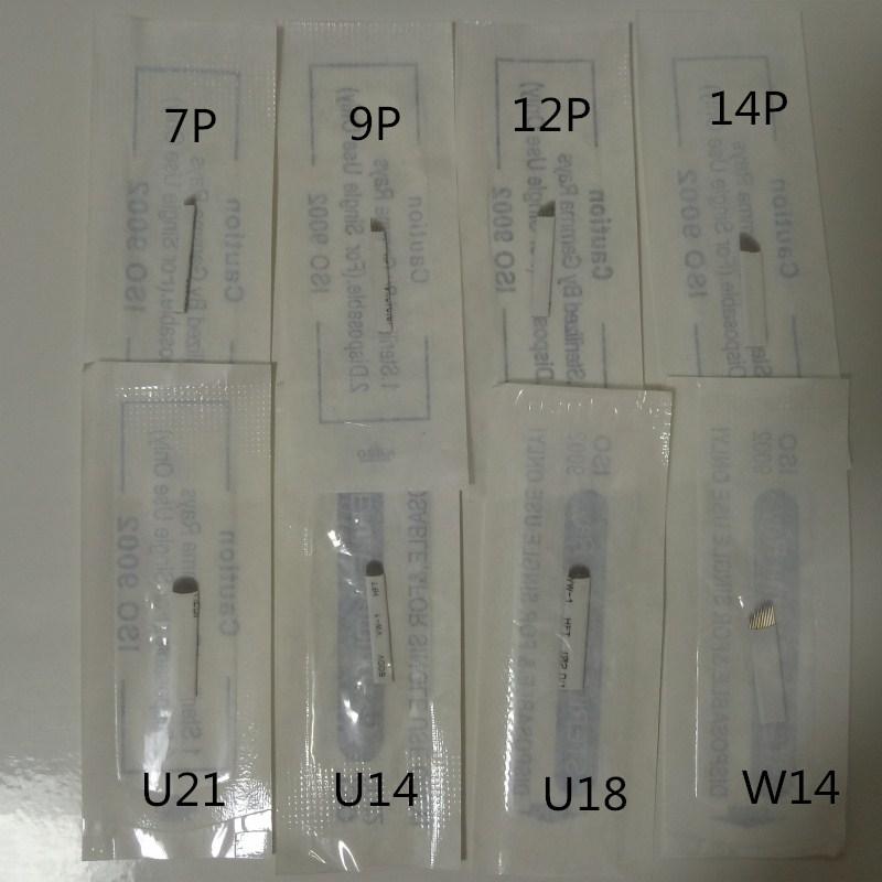 50pcs 7 9 12 14 18 Pin Permanent Eyebrow Makeup Blades Tattoo Manual Needle For Microblading Pen Machine 3D Eyebrow Microblading-in Tattoo Needles from Beauty & Health