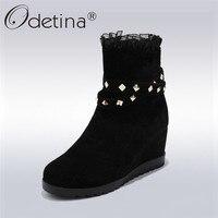 Odetina 2018 New Fashion Ankle Boots For Women Casual Platform Rivet Shoes Female Hidden High Heel