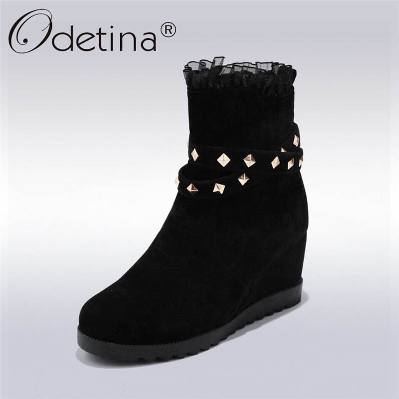 Odetina 2018 New Fashion Ankle Boots For Women Casual Platform Rivet Shoes Female Hidden High Heel Booties With Zip Big Size 43 women ankle boots 2016 round toe autumn wine red combat 2017 metal platform short fashion booties european shoes female new