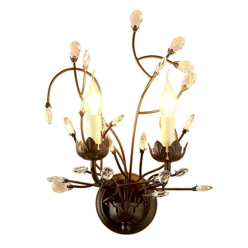 Кристалл Бра Sretro Винтаж металл бра дома Освещение хрустальные Бра Прихожая 2 головки E14 светодиодные светильники
