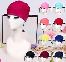 50pcs Drape Stretch Seaside Fold Swim Cap hat Sexy Lady Womens Girls Long Hair Hat Bathing Swimming