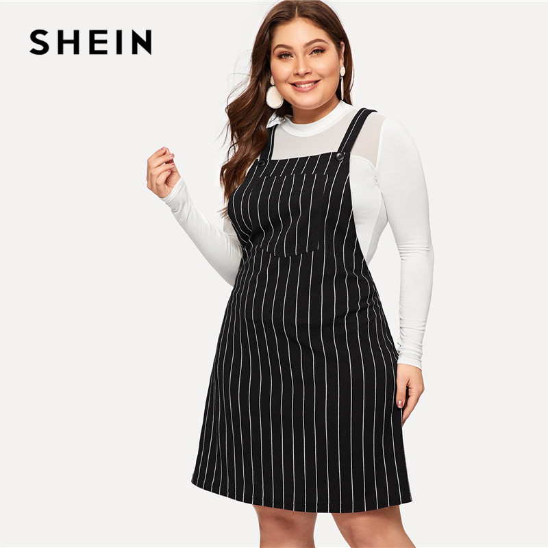 SHEIN Plus Size Black Striped Straps Mini Pinafore Dress Women 2019 Preppy Style A-Line Short Dresses 2