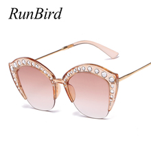 2018 Design Luxury Half Frame Sunglasses Women Oversized Cat Eye Shades Ladies Sexy  Sun Glasses Luxury Brown Eyewear 1331R