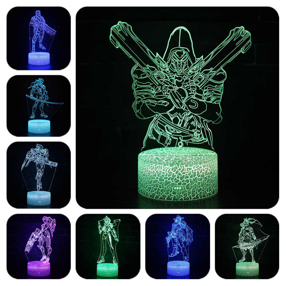 OW 7 Colors Changing Table Projection Lamp USB light up Led Overwatching Reaper Hanzo Genji Mccree Action Figure Luminous toys