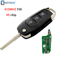 OkeyTech For Ford Key FSK 433MHz With ID49 Chip 3 Buttons Replacement Folding Remote Key for Ford Mondeo Escort Remote Key