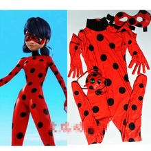 Ladybug Girl Cosplay Costume Kids Second Skin Tight Suit Spandex Turtleneck Unitard Women Halloween Party Tight Suit ladybug girl clothes miraculous kids marinette cartoon second skin halloween party costumes suit cosplay costumes mask bag toy