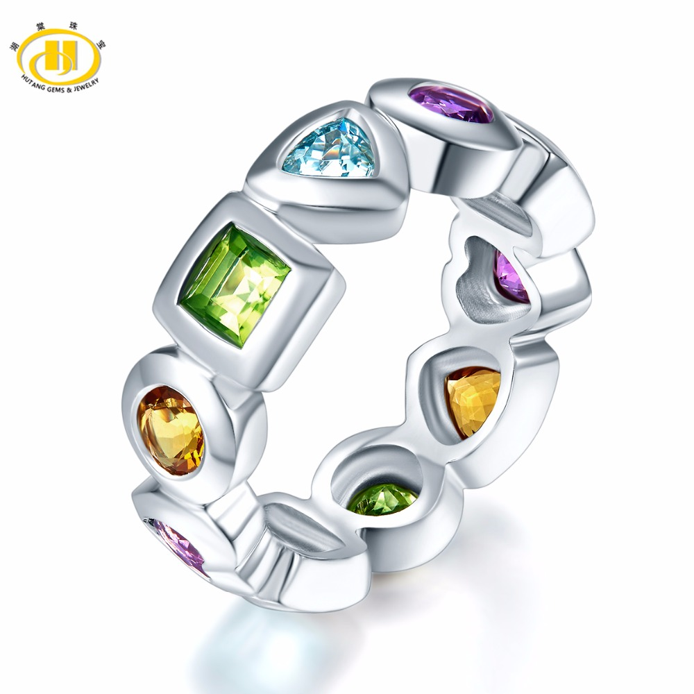 HUTANG Natural Multi Color Gemstones Amethyst Band Ring Solid 925 Sterling Silver Full Set Fine Jewelry