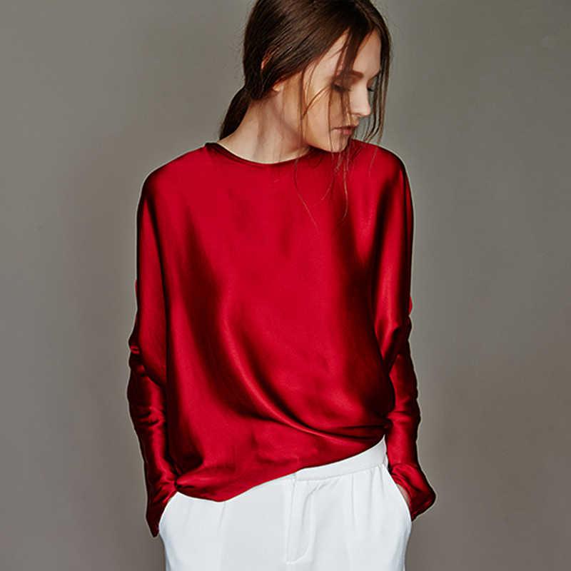 100% шелковая блузка женская рубашка Простой дизайн с круглым вырезом и длинными рукавами 2 цвета полупрозрачная ткань Повседневный Топ Новая мода весна 2019