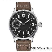 Moda 44 MM Preto Marcação Estéril 17 Jewels 6497 Mão Winding Movimento Mecânico Relógio Do Esporte Relógio de Pulso Men Watch BC17