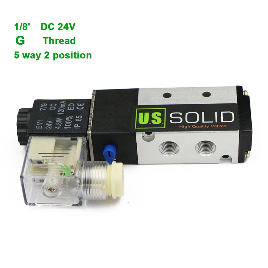 U.S.Solid 1/8 5 Way 2 Position Pneumatic Electric Solenoid Valve DC 24 V G Thread Aluminum Alloy ISO Certificated 1 4 dc 12v 3 way 2 position pneumatic electric solenoid valve bsp air aluminum