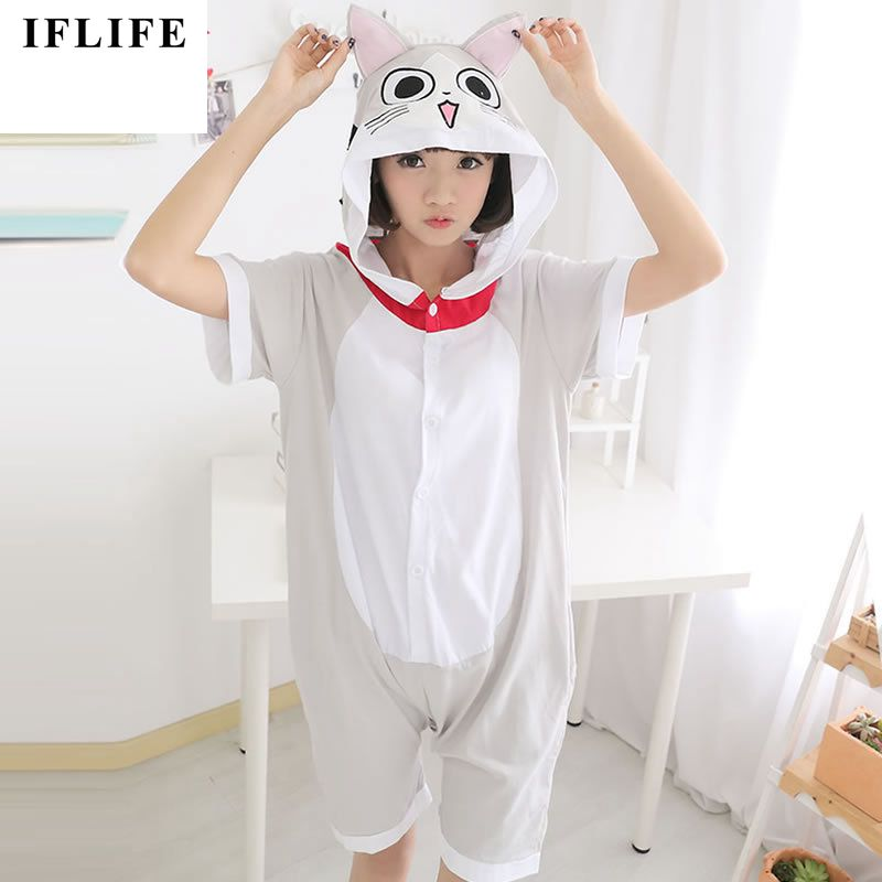 Cotton Animal Family Matching Pajamas Outfits Summer Hooded Chi's Cat Sweet Home Pyjamas Onesie Mother Kids Sleepwear