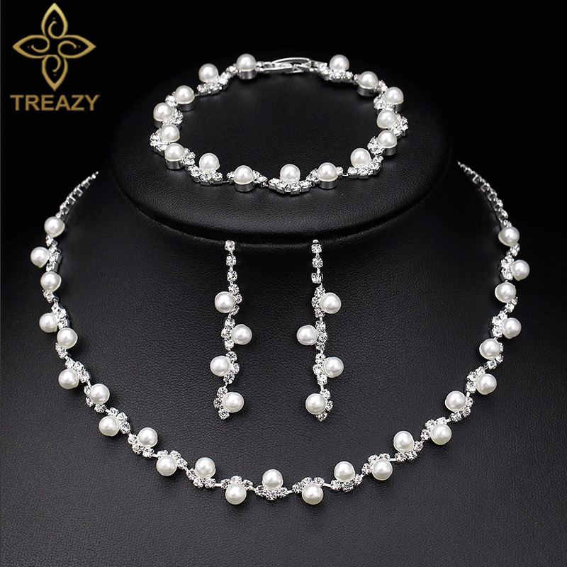 TREAZY Simulated Pearl Crystal Bridal Jewelry Sets Simple Crystal Women Choker Necklace Earrings Bracelet Wedding Jewelry Sets