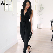 Women Fashion Sexy V Neck Solid Jumpsuits Straight type Decorate Elastic band High Waist pockets Rompers Female Long Playsuits coffee round neck elastic waist jumpsuits