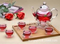 1 glass teapot 600ml+6 double wall tea cups +1 heating base 8pcs/set