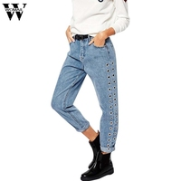 2017European And American Women S New High Waist Baggy Trousers Rivet Hollow Metal Corns Jeans OCt16