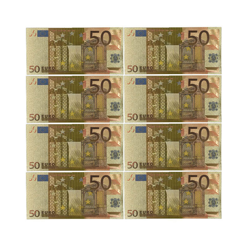 Color Euro Banknotes 10pcs/lot 50 EUR Gold Foil Banknote For Collection And Gifts EU Money Exquisite Craft