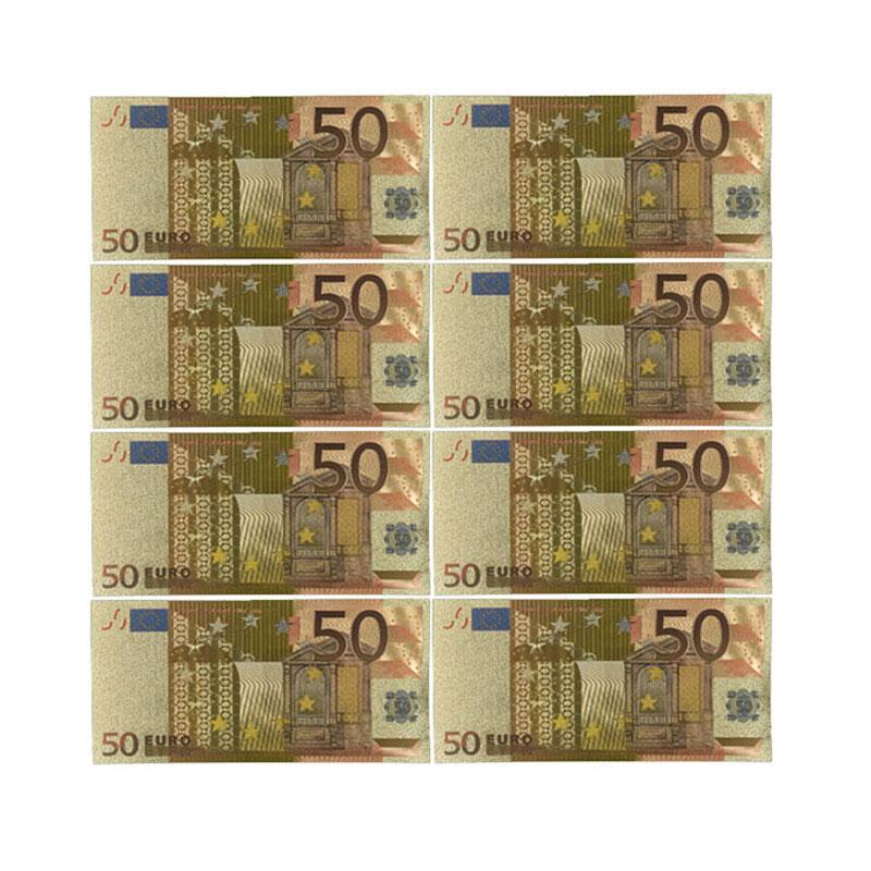 Цветные евро банкноты 10 шт./лот 50 евро Золотая фольга банкноты для сбора и подарков европейские деньги изысканное ремесло