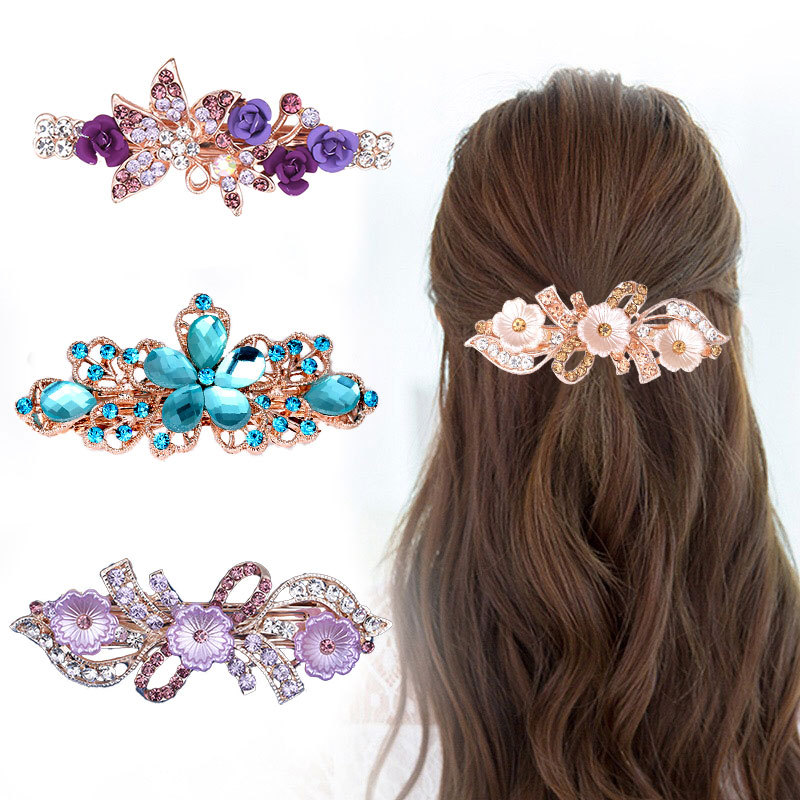 2019 Fashion Vintage Crystal Hairpins For Women Sequin Rose Flower Hair Bows With Silver Clips Rhinestone Hair Barrettes