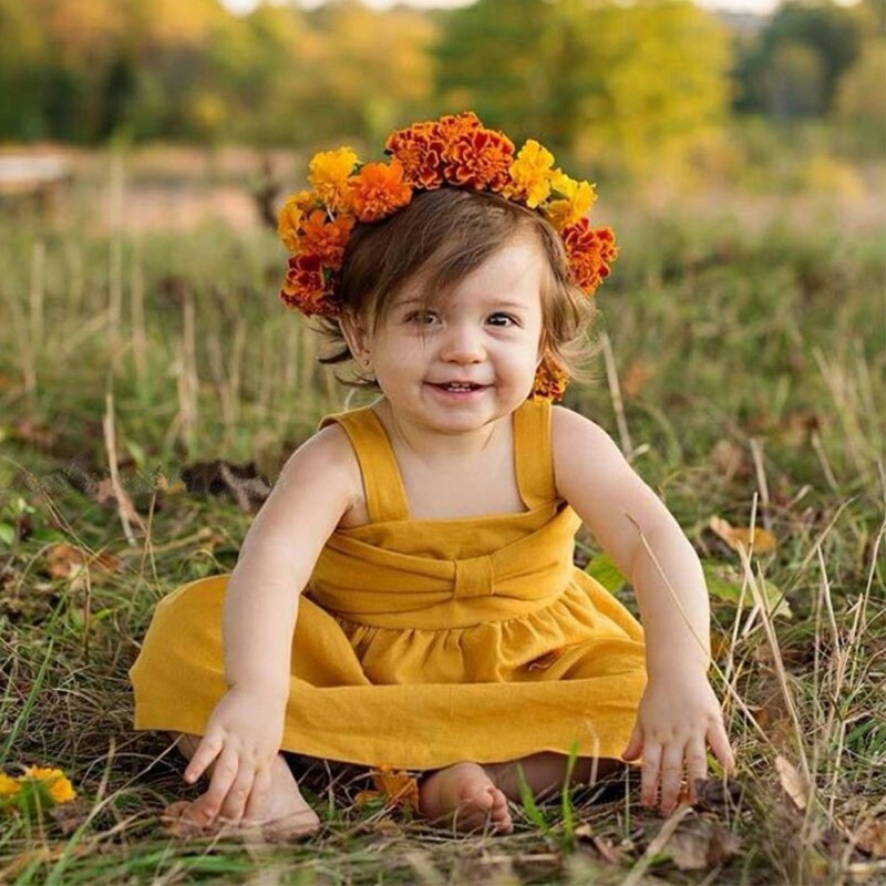 2018 High Quality Solid Baby Girl Dresses Cute Suspenders A Line Dress Kids Clothing Childrens Princess Party Dress
