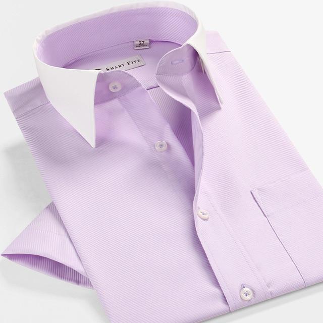 High Quality Summer Non-Ironing Clothing Business  Striped Shirt Men 100% Cotton  Dress Shirt Slim Fit