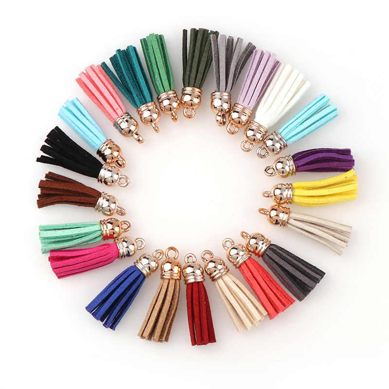 21 Warna 10 PC Suede 3 Cm Rumbai untuk Gantungan Kunci Kulit Jumbai Topi Emas Tali Perhiasan DIY Membuat Hiasan Liontin