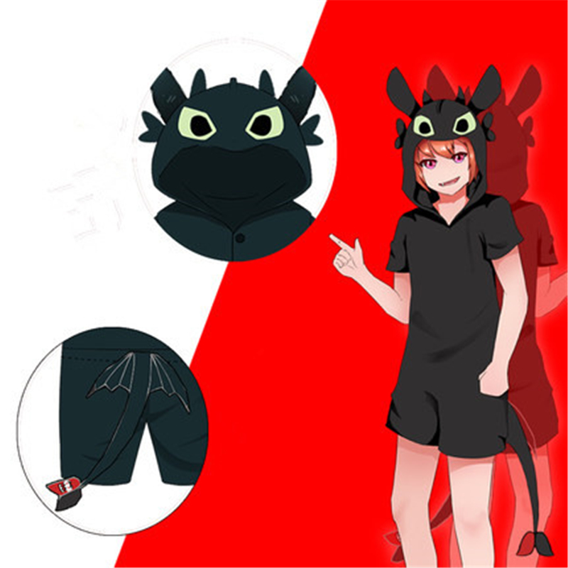 2018 New Anime Movie How to Train Your Dragon 3 Cute Toothless Cosplay Costumes Summer Casual Cotton pajamas Jumpsuits Bodysuit