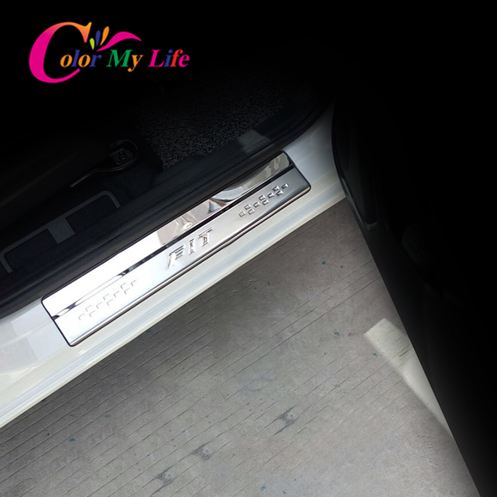 Color My Life Car Door Sill Scuff Plates Cover Trim <font><b>Fit</b></font> for <font><b>Honda</b></font> <font><b>Fit</b></font> 2014 <font><b>2015</b></font> <font><b>2016</b></font> 2017 2018 2019 Stainless Steel 4Pcs/Set image