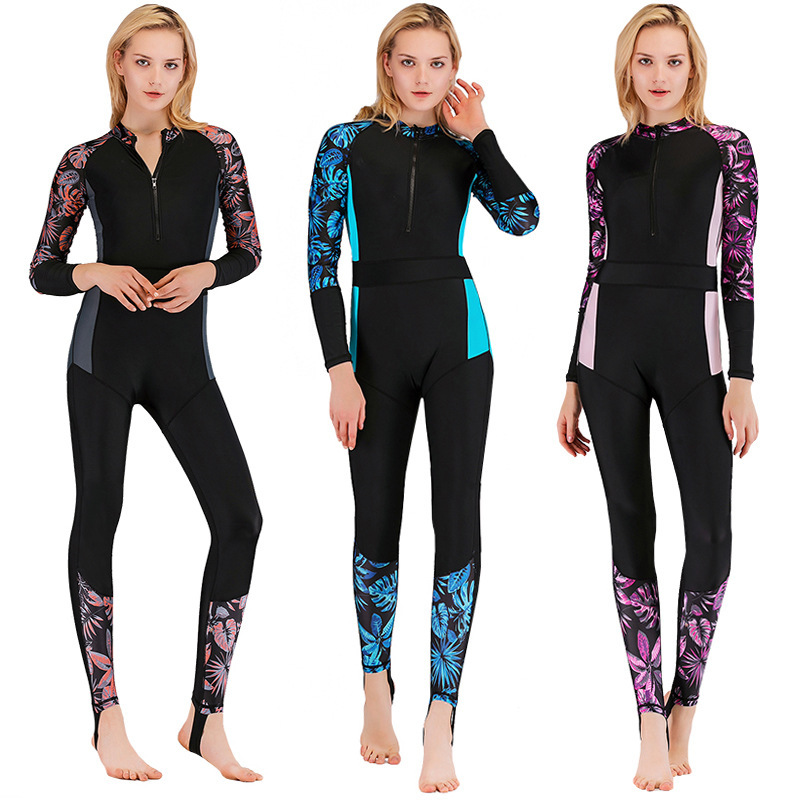 2019 Sbart New Diving Suit Women's One-Piece Suntan Long Sleeves Swimsuit Snorkeling Slim Body Surf Suit Good Quality