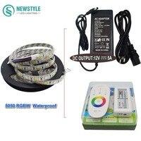 Waterproof RGBW RGBWW Led Strip Light FlexibleTape Ribbon SMD 5050 DC12V RF Touch Remote Controller 5A