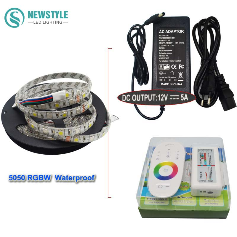 Waterproof RGBW/RGBWW Led Strip Light FlexibleTape Ribbon SMD 5050 DC12V + RF Touch Remote Controller + 5A Power Adapter Supply m3 m4 5a m3 touch rf remote with m4 5a cv receiver led dimmer controller dc5v dc24v input 5a 4ch max 20a output