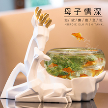 creative resin deer Fish tank vintage statue home decor crafts room decoration objects animal glass figurine