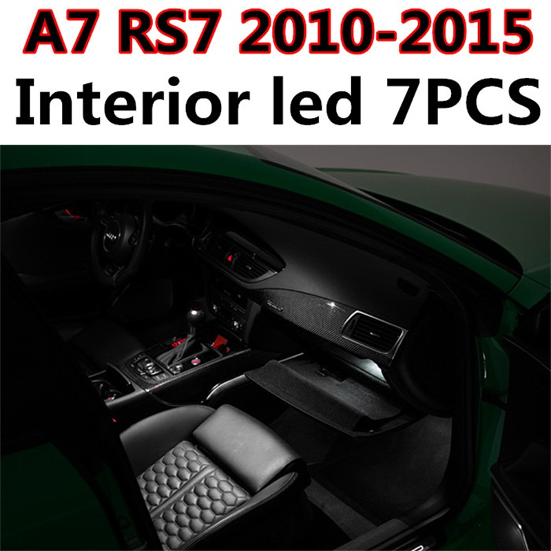 Tcart 7pcs free shipping Error Free Car LED Interior Light Kit Auto Led Bulbs Dome Lamp For Audi A7 RS7 S7 accessories 2010-2015 18pc canbus error free reading led bulb interior dome light kit package for audi a7 s7 rs7 sportback 2012