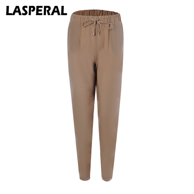 LASPERAL Women Chiffon Pants Fashion Solid High Waist Loose Bottoms Sweatpants Casual Drawstring Trousers Pockets Harem Pants