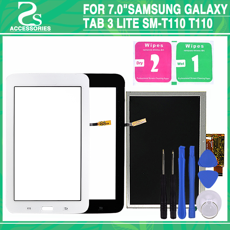 New T110 T111 LCD Touch Screen For 7.0Samsung Galaxy Tab 3 Lite SM-T110 T110 LCD Display Digitizer Touch Screen Sensor Panel protective clear screen protector guard film for samsung galaxy tab 3 lite t110