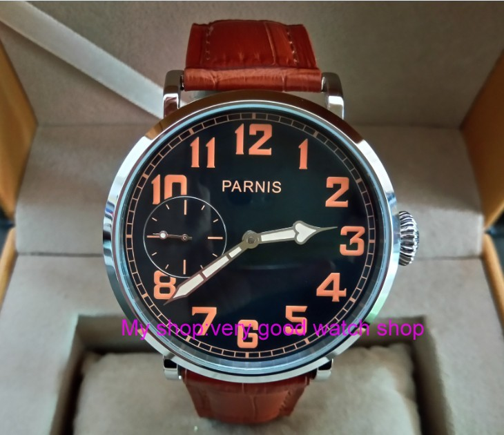 46mm parnis Black dial Asian 6497 17 jewels Mechanical Hand Wind movement men watch luminous Mechanical watches zdgd193a