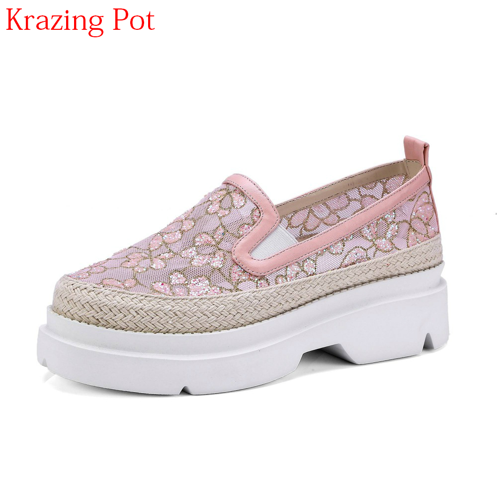 2018 Superstar Air Mesh Round Toe Platform Sneaker Solid Causal Shoes Embroidery Loafer Sweet Cozy Women Vulcanized Shoes L7f3
