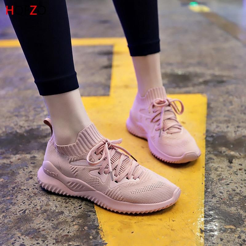 HQFZO 2019 Fashion Women Sneakers Tenis Feminino Shoes Platform Elastic Flats Casual Lace Up Female Spring Summer Mujer