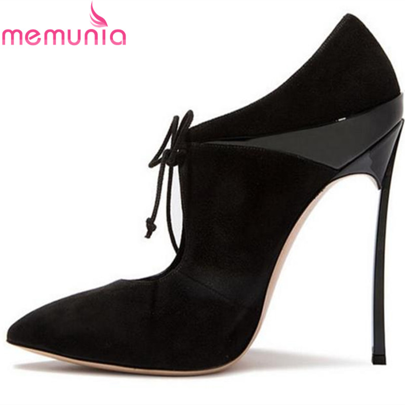 MEMUNIA 2017 new arrive women pumps fashion lace-up pointed toe spring autumn single shoes elegant ladies office shoes memunia 2017 fashion flock spring autumn single shoes women flats shoes solid pointed toe college style big size 34 47