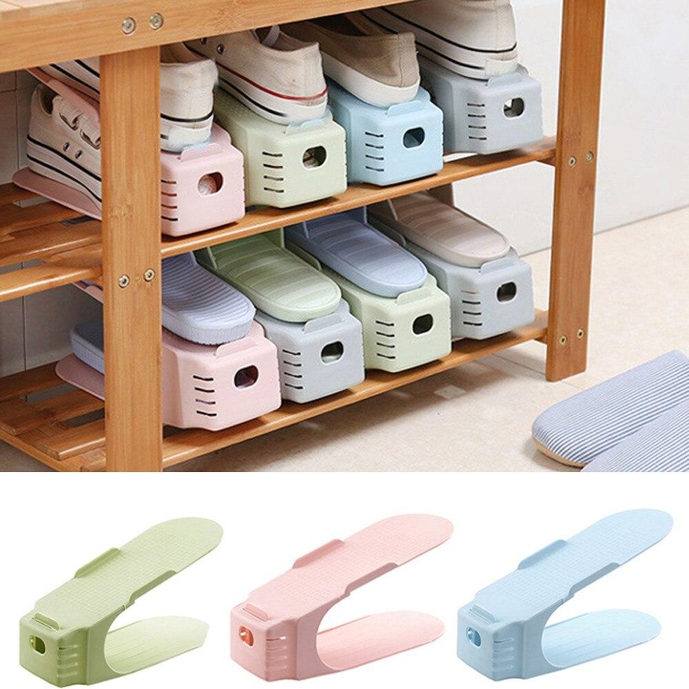 Schoenen Organizer Rack Staande Display Magazijnstellingen Ruimtebesparend Plastic Dubbele Lagen Home Winkel Garderobe Levert F418